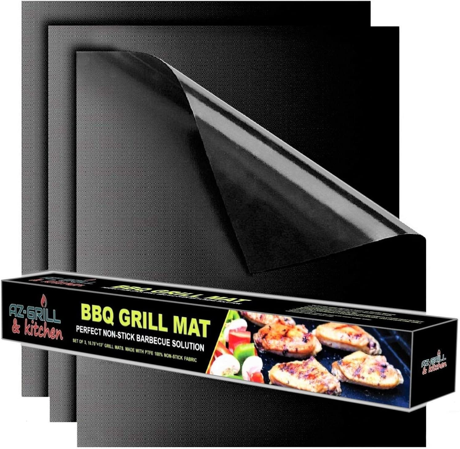 Grill mat Set of 3 – BBQ Grill Mats Non Stick Reusable – Grilling mats for Gas Grill – Baking Pads Nonstick use on Charcoal Electric Grills – Easy to Clean Outdoor Barbeque Grilling Accessories Black