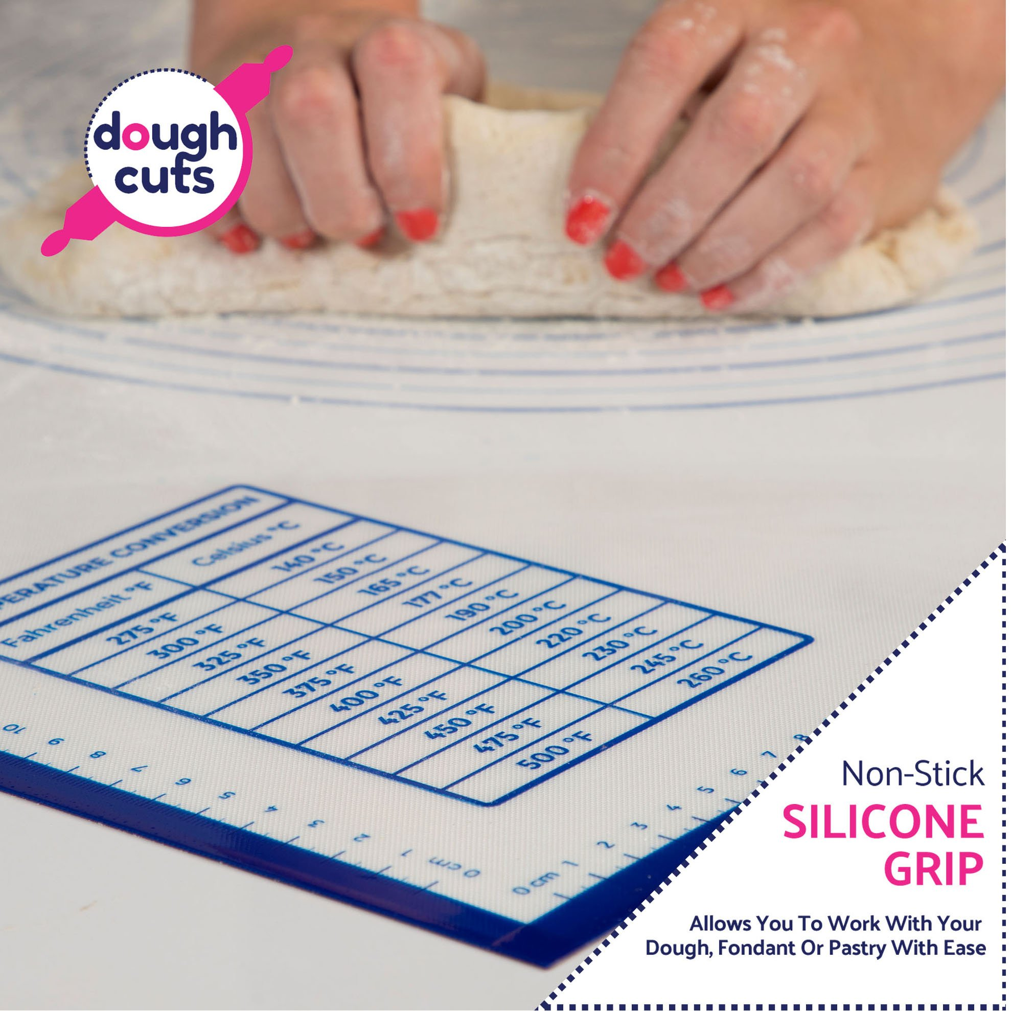 Extra Large Silicone Pastry Mat - Non Stick Reusable XXL 32'' x 24'' Cooking Sheet Liner with Countertop Non-Slip Grip and Heat Resistant - Non-Toxic, BPA Free Jumbo Pastry Mat for Rolling Dough Cookies by dough cuts (Image #4)
