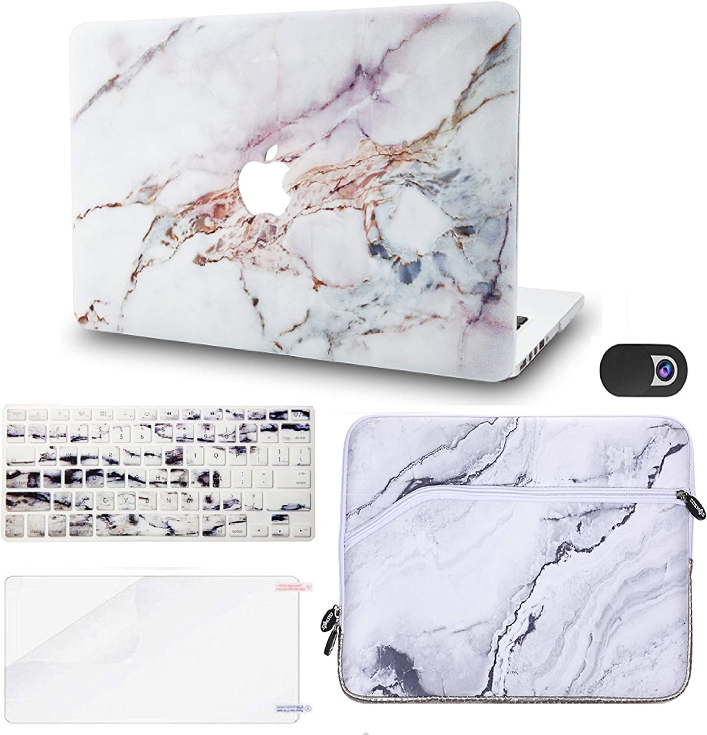 "KECC Laptop Case for MacBook Air 13"" Retina (2020, Touch ID) w/Keyboard Cover + Sleeve + Screen Protector + Webcam Cover (5 in 1 Bundle) Plastic Hard Shell Case A2179 (White Marble 4)"
