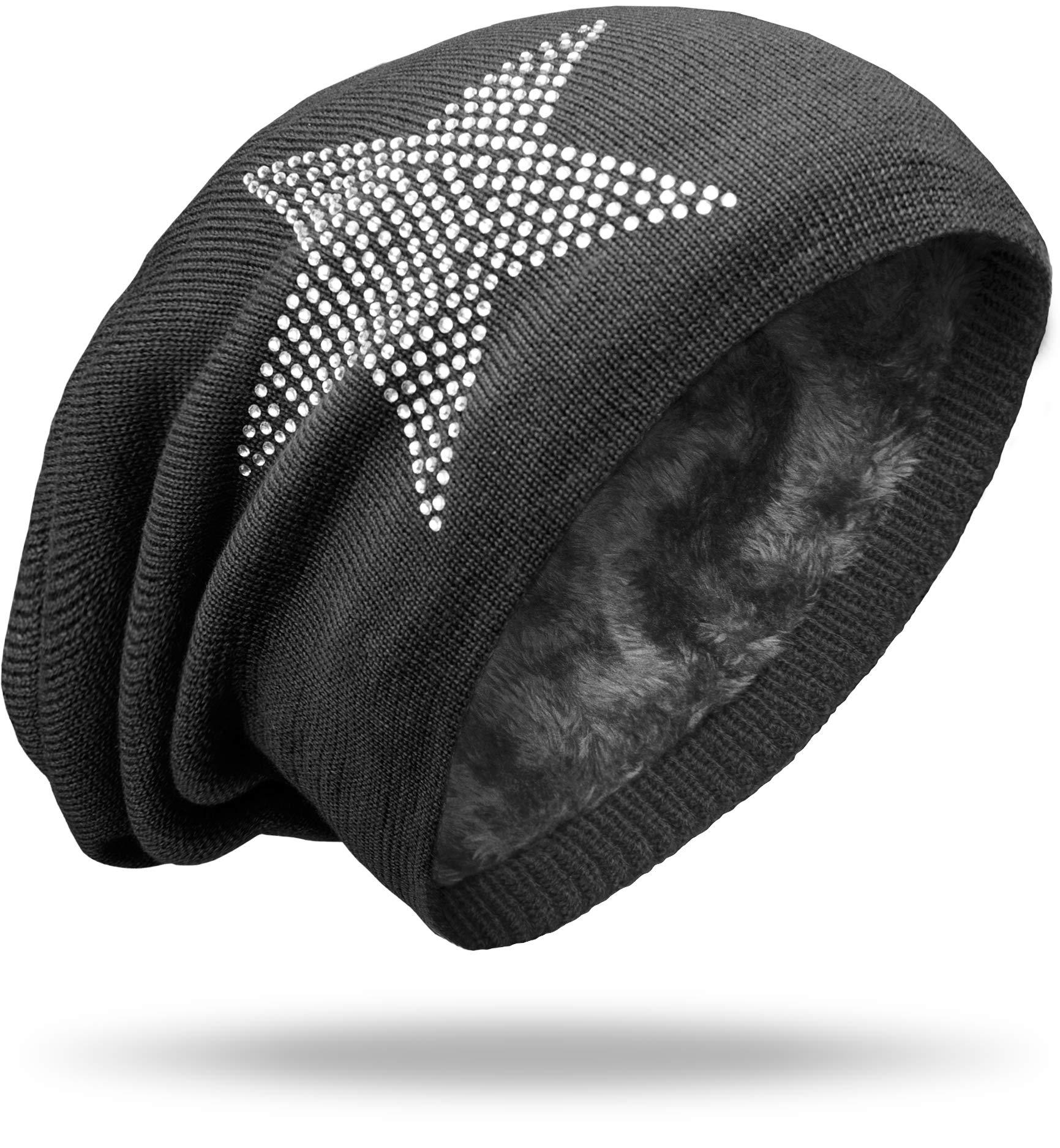 53867006f406ee NavyBlu® langes Slouch Beanie Mütze in Feinstrick mit Teddyfleece  Innenfutter Sternstrass dunkelgrau M024