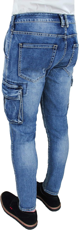Vaqueros Pantalones Vaqueros Para Hombre Cargo Blu Denim Slim Fit Skinny Con Bolsillos Laterales Evoga Ropa Grupobrtelecom Com Br