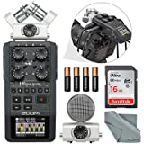 Zoom H6 Portable Recorder with Interchangeable Mic System Bundle with 16 GB + FiberTique Cloth +Batteries