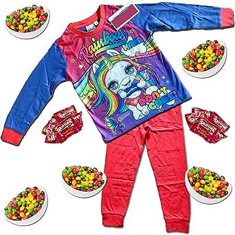Poopsie Slime Surprise - Pijama de unicornio arcoíris para niños + 10 paquetes de golosinas arcoíris - Pijama para niñas de 3 a 10 años