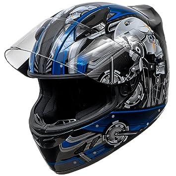 Koi Dot motocicleta casco Full Face Koi Cyborg calavera brillante azul w/claro visera –