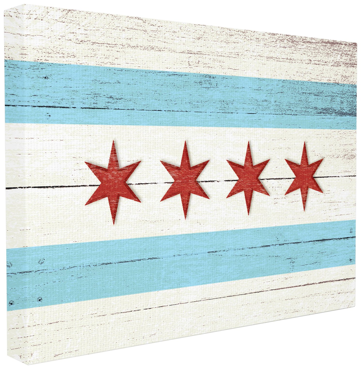 The Stupell Home Décor Collection Chicago Flag Distressed Wood Look Oversized Stretched Canvas Wall Art, 24 x 30