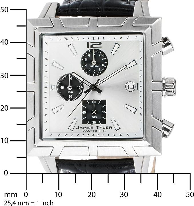 James Tyler Herren Armbanduhr Quarz Chronograph Quadratisch Edelstahl Gebürstet Jt710 3 Amazon De Uhren
