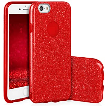 QULT Carcasa para Móvil Compatible con Funda iPhone 7 Silicona roja Dura Bumper Teléfono Brillar Purpurina Caso para iPhone 7 Red