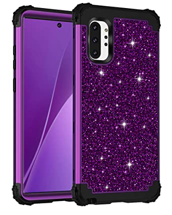 Lontect for Galaxy Note 10 Plus Case Luxury Glitter Sparkle Bling Heavy Duty Hybrid Sturdy Armor High Impact Shockproof Protective Cover Case for ...