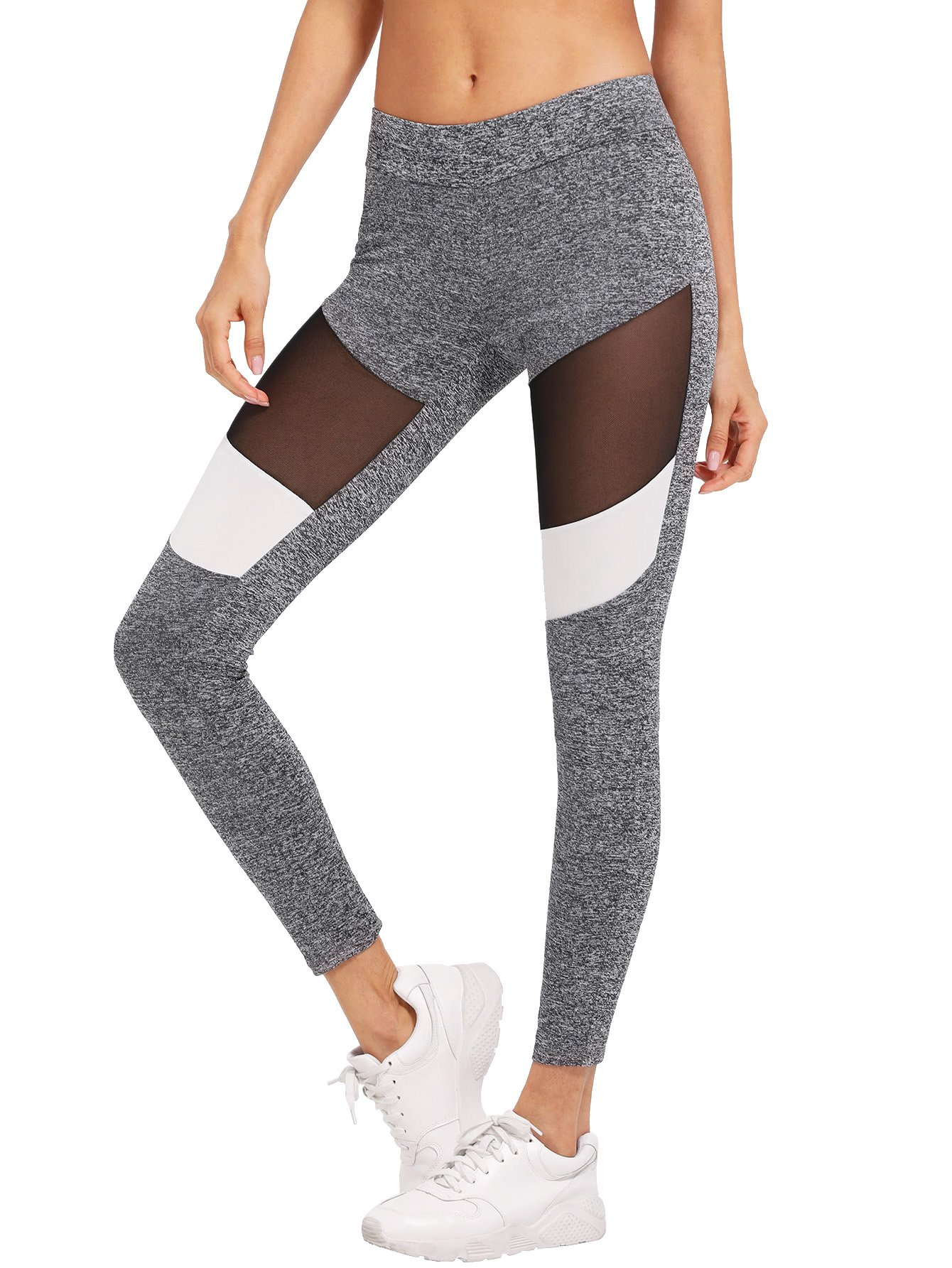 81ef57d50561de Galleon - SweatyRocks Women's Stretchy Skinny Sheer Mesh Insert Workout  Leggings Yoga Tights Color Block #13 XS