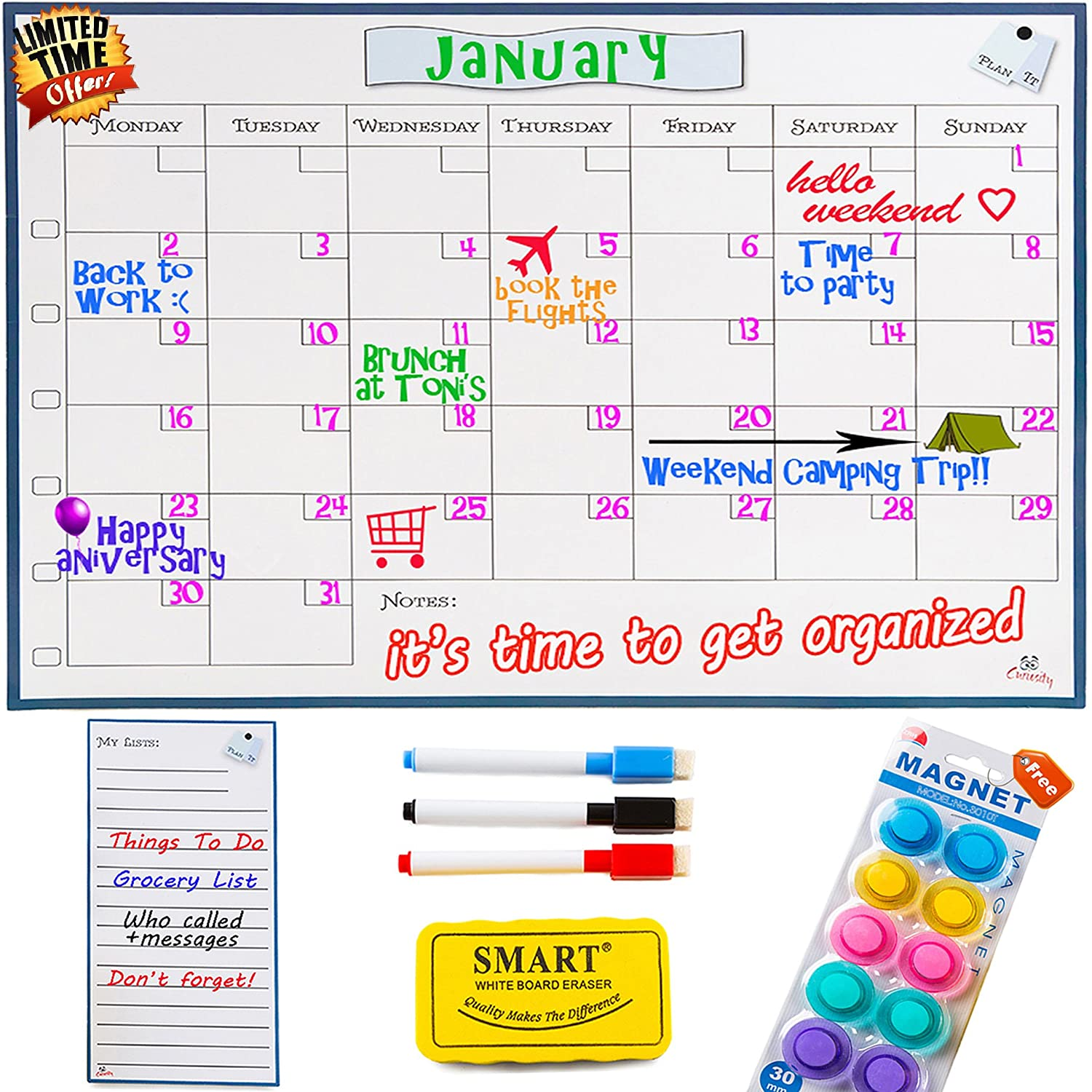 Monday to Sunday Dry Erase Magnetic Calendar Whiteboard - 1612 Monthly Refrigerator Calendar Board - INCLUDES Magnetic My Lists Pad, Erasable Markers & Eraser, BONUS Magnetic Pins by Curiosity