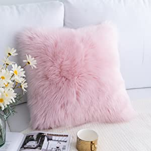 Foindtower Mongolian Plush Faux Fur Square Decorative Throw Pillow Cover Cushion Case New Luxury Series Merino Style for Livingroom Couch Sofa Nursery Bed Home Decor 18x18 Inch (45x45cm) Pink