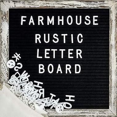 Felt Letter Board with 10x10 Inch Rustic Wood Frame, Script Words, Precut Letters, Picture Hangers, Farmhouse Wall Decor, Shabby Chic Vintage Decor, Black Felt Message Board