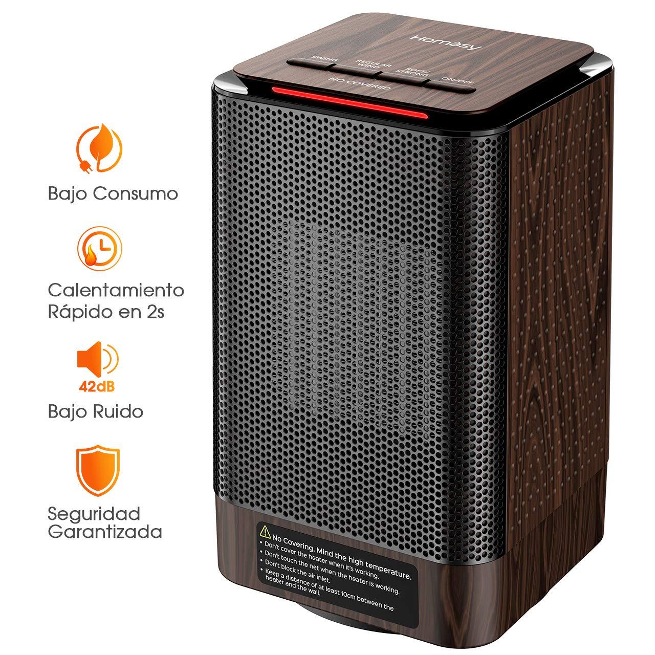 Homasy Calefactor Electrico Bajo Consumo, Calefactor Ceramico PTC 950W de Aire Caliente Ajustable, Bajo