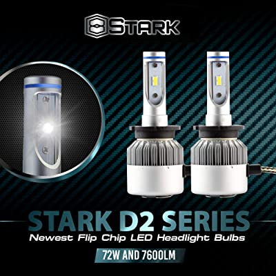 Stark D2 Series 72W 7600LM D2S / D2R / D2C LED 6000K White Flip Chip Headlight Replacement for HID Xenon Bulbs: Automotive