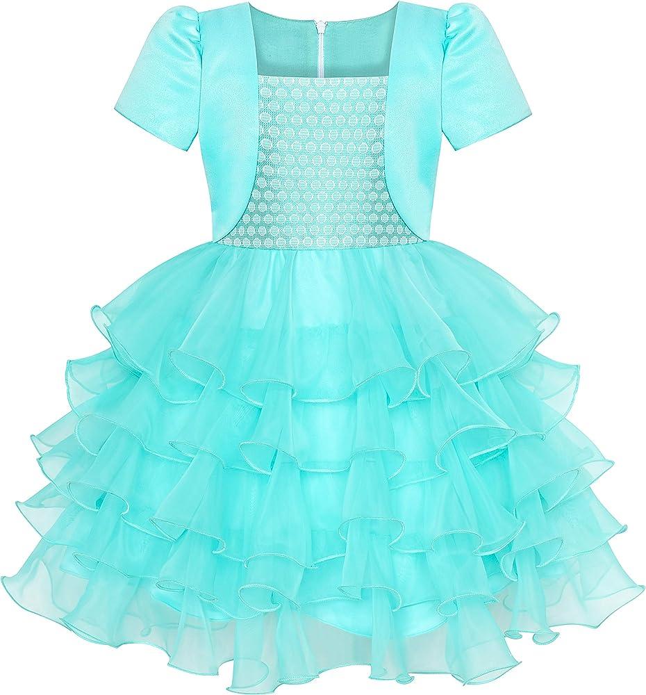 Sunny Fashion Vestido para niña 2 en 1 Bolero Turquesa ...