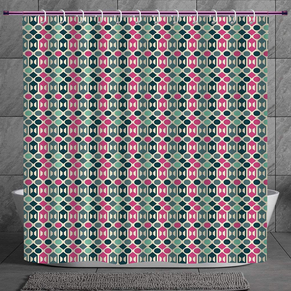 Decorative Shower Curtain 2 0 Novelty Retro 60s Home Decor Inspired Geometrical Shapes And Dots Fern Green Hot Pink And Light Pink Bathroom Accessories With Hooks Amazon In Home Kitchen