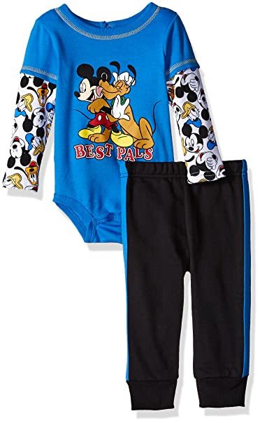 aa28fb9c0 Amazon.com: Disney Baby Boys' 2-Piece Mickey Mouse and Goofy Top and Pant  Set, Blue, 0/3 Months: Clothing