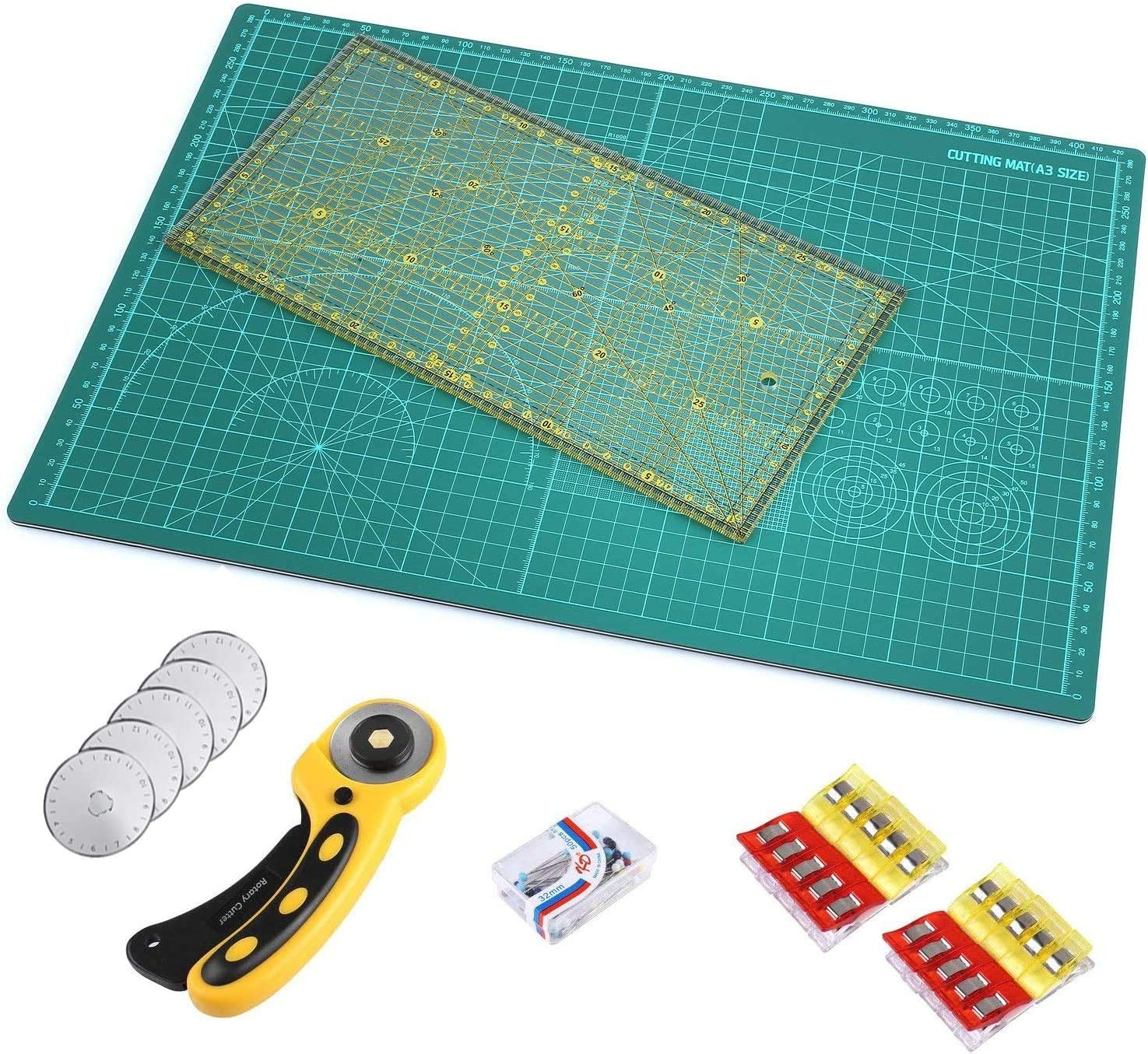 1x Patchwork Ruler Pins for Quilters Sewing Quilting Cutting Craft MVPOWER Professional A2 Cutting Mat Set with 1x Rotary Cutter 5X Replacement Blades 1x A2 Cutting mat Cloth Clip
