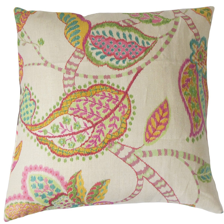The Pillow Collection Mazatl Floral Bedding Sham Pink Standard/20 x 26'