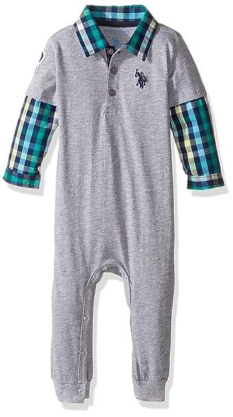 a039d363a7ab Amazon.com  U.S. Polo Assn. Baby Boys   Long Sleeve 2 Fer Romper ...