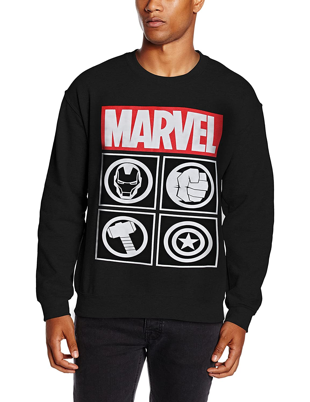 Marvel Avengers Icon, Sudadera para Hombre, Negro (Black), XX-Large BILMC00245