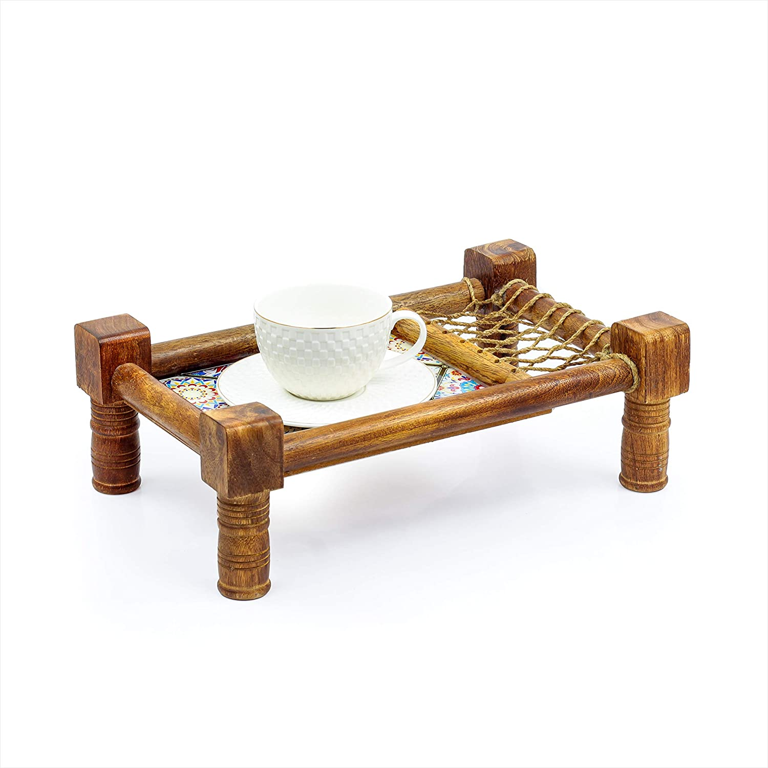 Traditional Decorative Asian Cot Tray for Snacks & Drinks | North Indian Decorative Wooden Coat Decor Accent | Nagina International