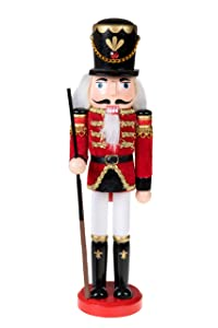 """Clever Creations Traditional Wooden Soldier Nutcracker with Rifle Festive Christmas Decor 