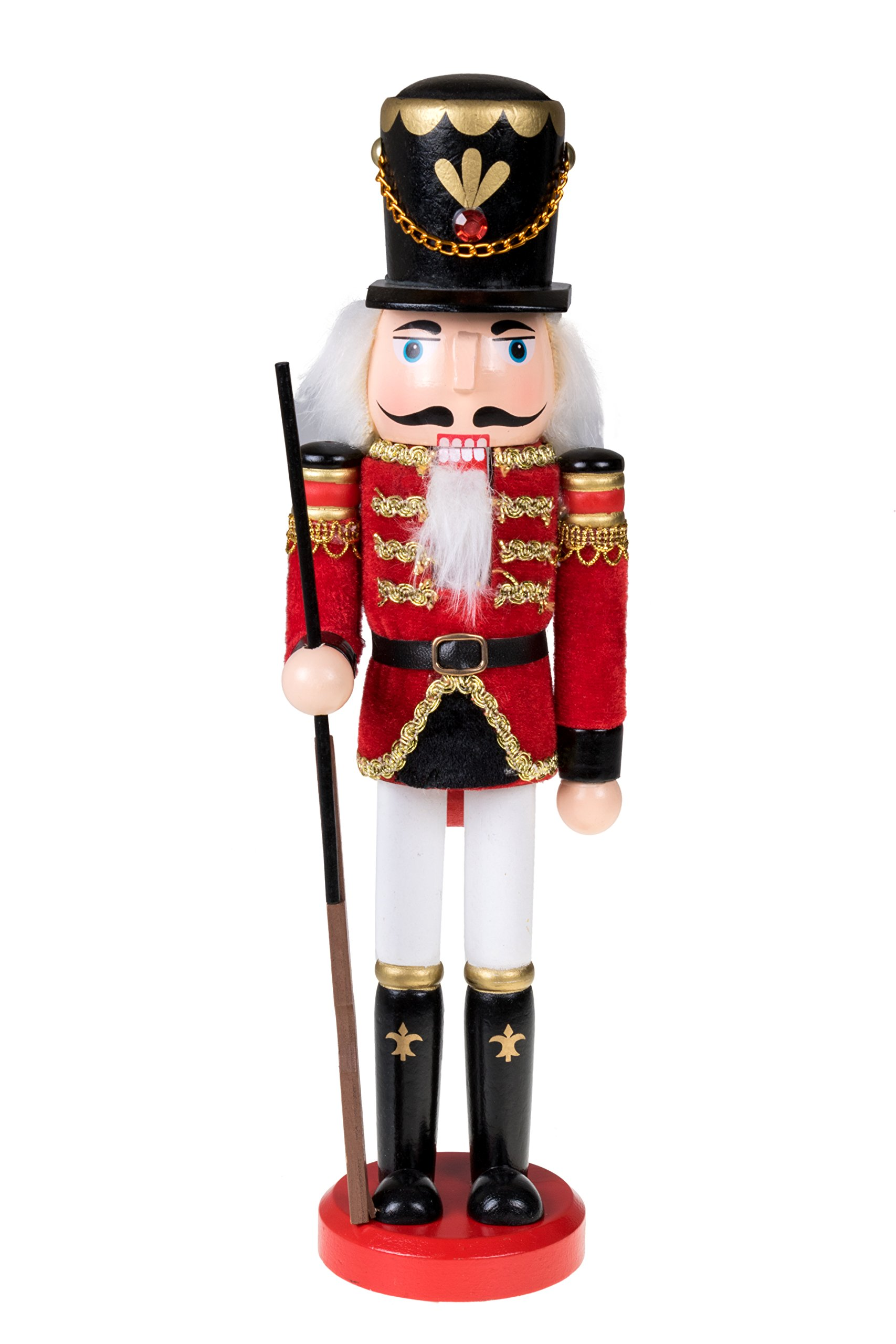 Traditional Wooden Soldier Nutcracker with Rifle by Clever Creations | Festive Christmas Decor | 12'' Tall with Gun Perfect for Shelves and Tables | 100% Wood