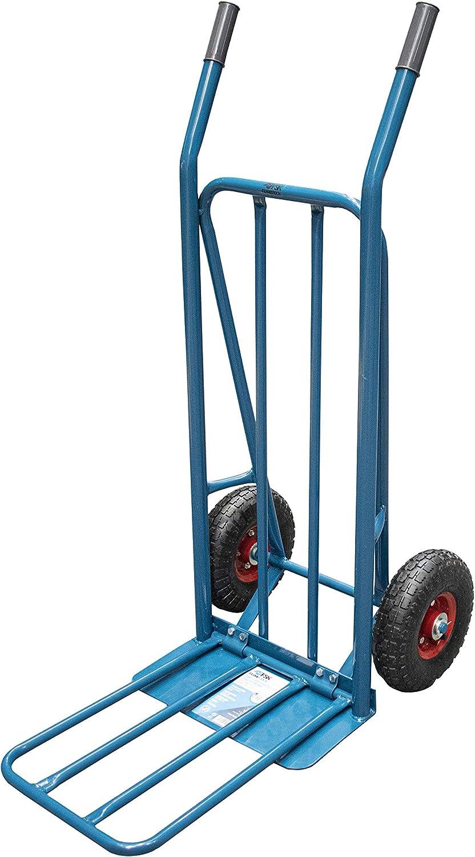 Ferrestock FSKCAR003 Carretilla de almacén profesional fabricada en acero con refuerzo doble, pala abatible, hasta 250kg de carga y ruedas neumáticas con llanta metálica, Azul