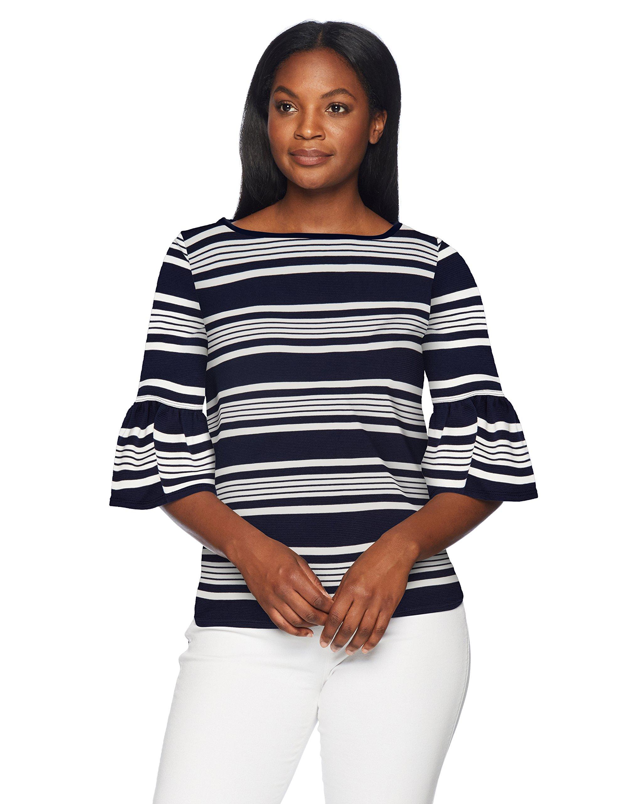 Lark & Ro Women's Standard Tulip Sleeve Top, Navy/Ivory Wide Box Stripe, L