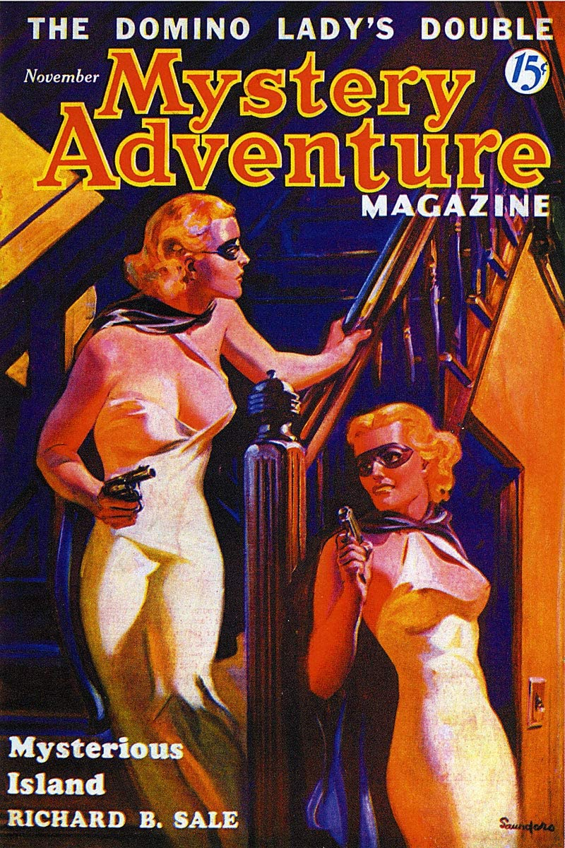 November 1936 Mystery Adventure The Domino Ladys Double Vintage Pulp Magazine Cover Retro Art Poster - 24x36