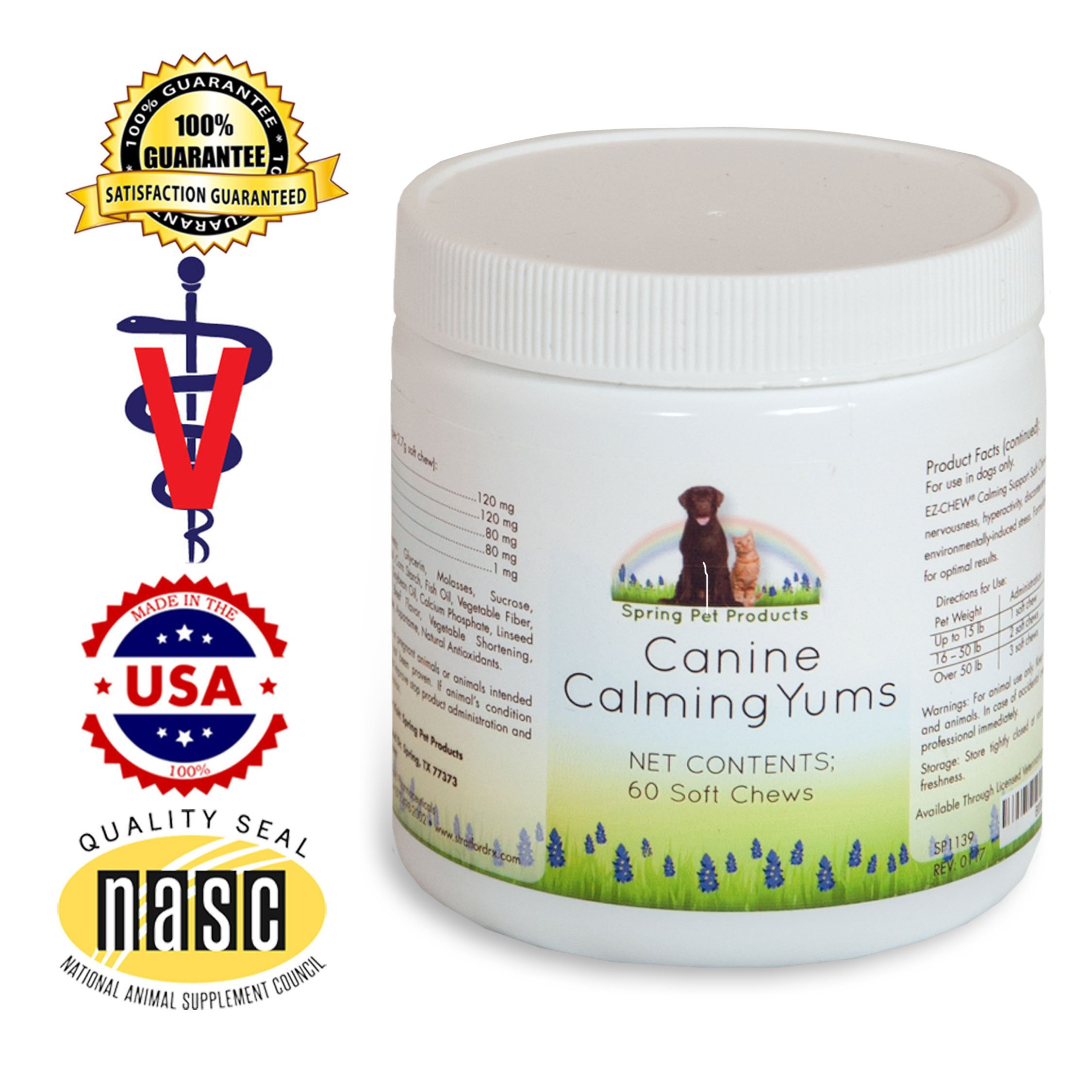 Spring Pet Calming Yums With Melatonin 60 Count ~ High Potency Natural Veterinary Formula to Help Reduce Anxiety and Stress in Dogs and Puppies ~ Soft, Tasty Beef Flavored Treat Made in USA