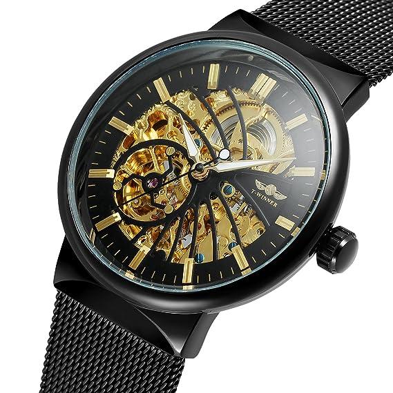 Forsining automático fascinado resistente al agua populares de los hombres esqueleto reloj de cristal pulsera de acero inoxidable: Amazon.es: Relojes