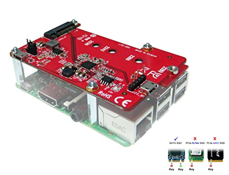 Ableconn PIUSB-M2S USB to M 2 SATA SSD Converter Stackable Board for  Raspberry Pi