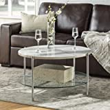 Walker Edison Furniture Company Modern Round Coffee Accent Table Living Room, Marble/Chrome