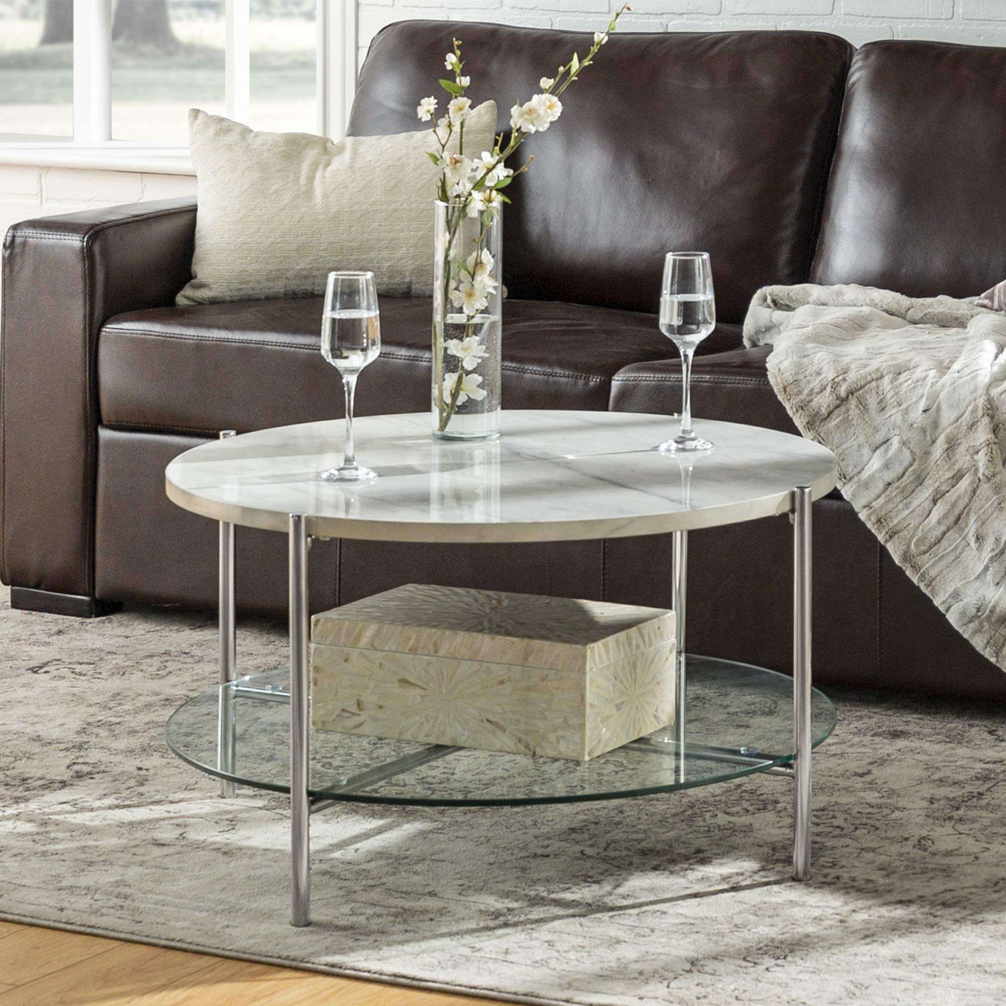 WE Furniture Modern Round Coffee Accent Table Living Room, 32 Inch, White Marble, Silver by WE Furniture