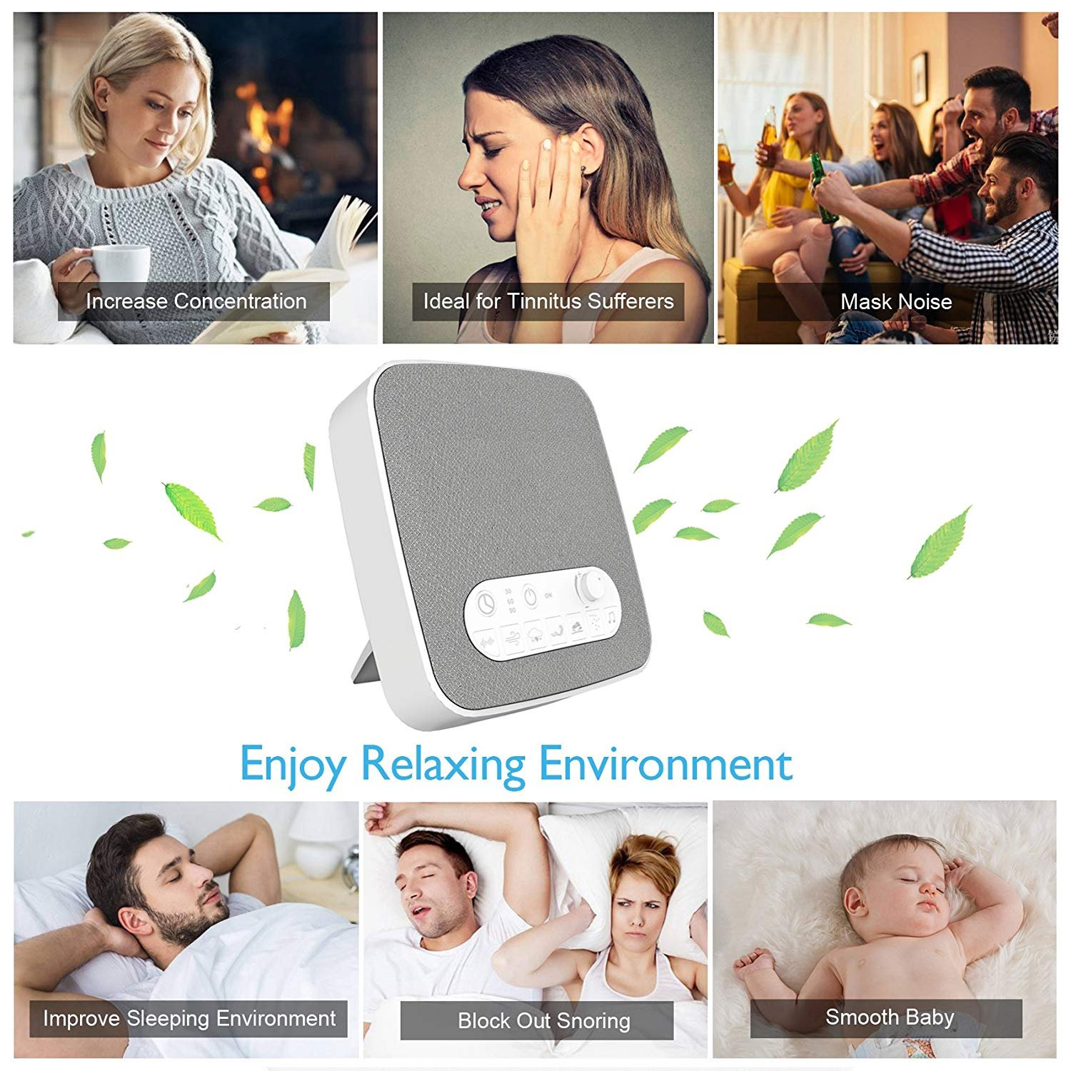 White Noise Machine for Sleeping, BESTHING Sleep Sound Machine with Non-Looping Soothing Sounds for Baby Adult Traveler, Portable for Home Office Travel. Built in USB Output Charger & Timer. by BESTHING (Image #5)