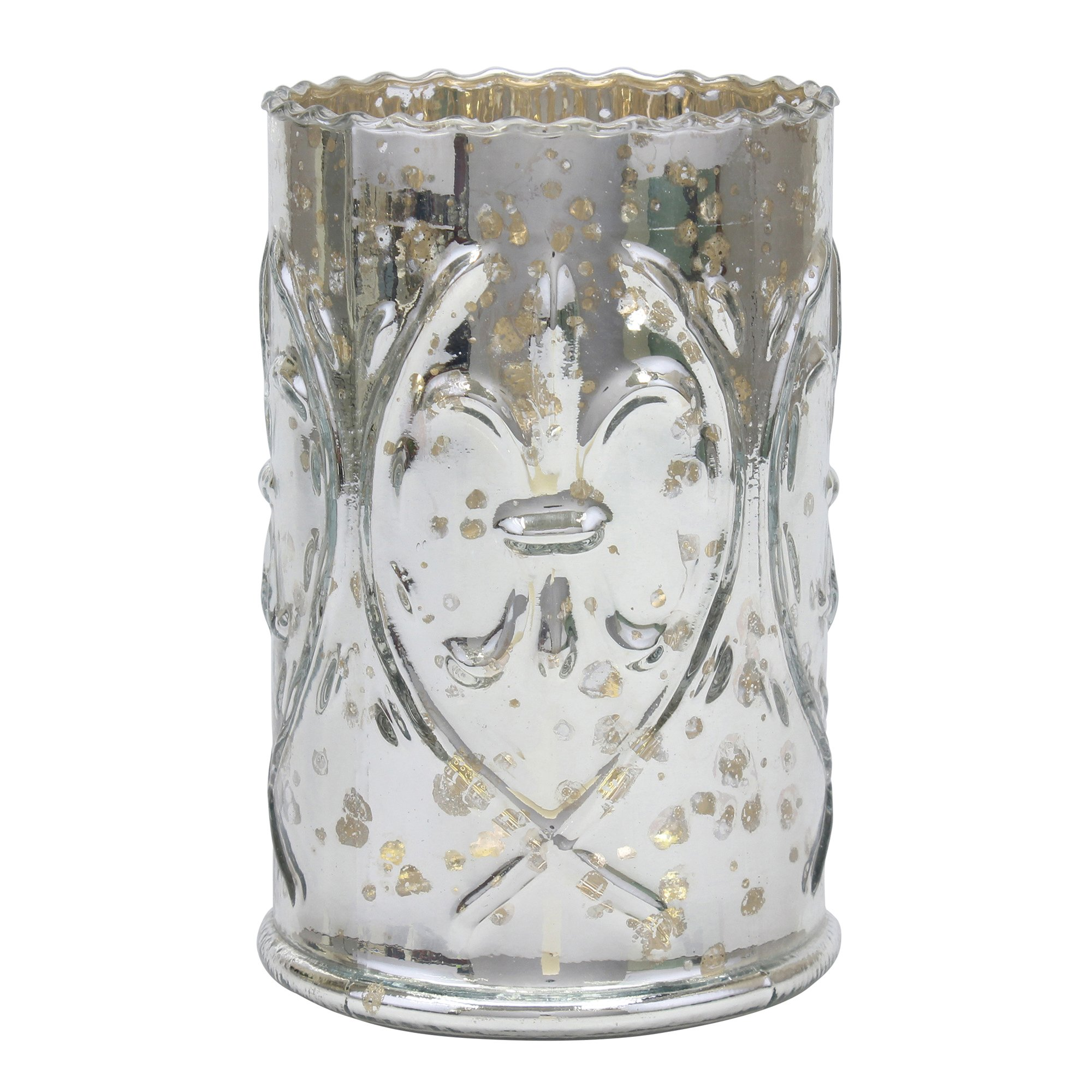 Stonebriar Decorative Antique Silver Mercury Glass Pillar Candle Holder, Vintage Home Decor, for Wedding Decorations, Table Centerpiece for Parties, and Everyday Shelf or Mantel Decor