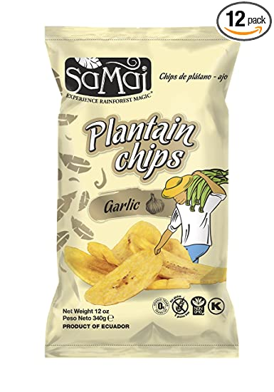Samai Plantain Chips Garlic 12 oz (Pack of 12)