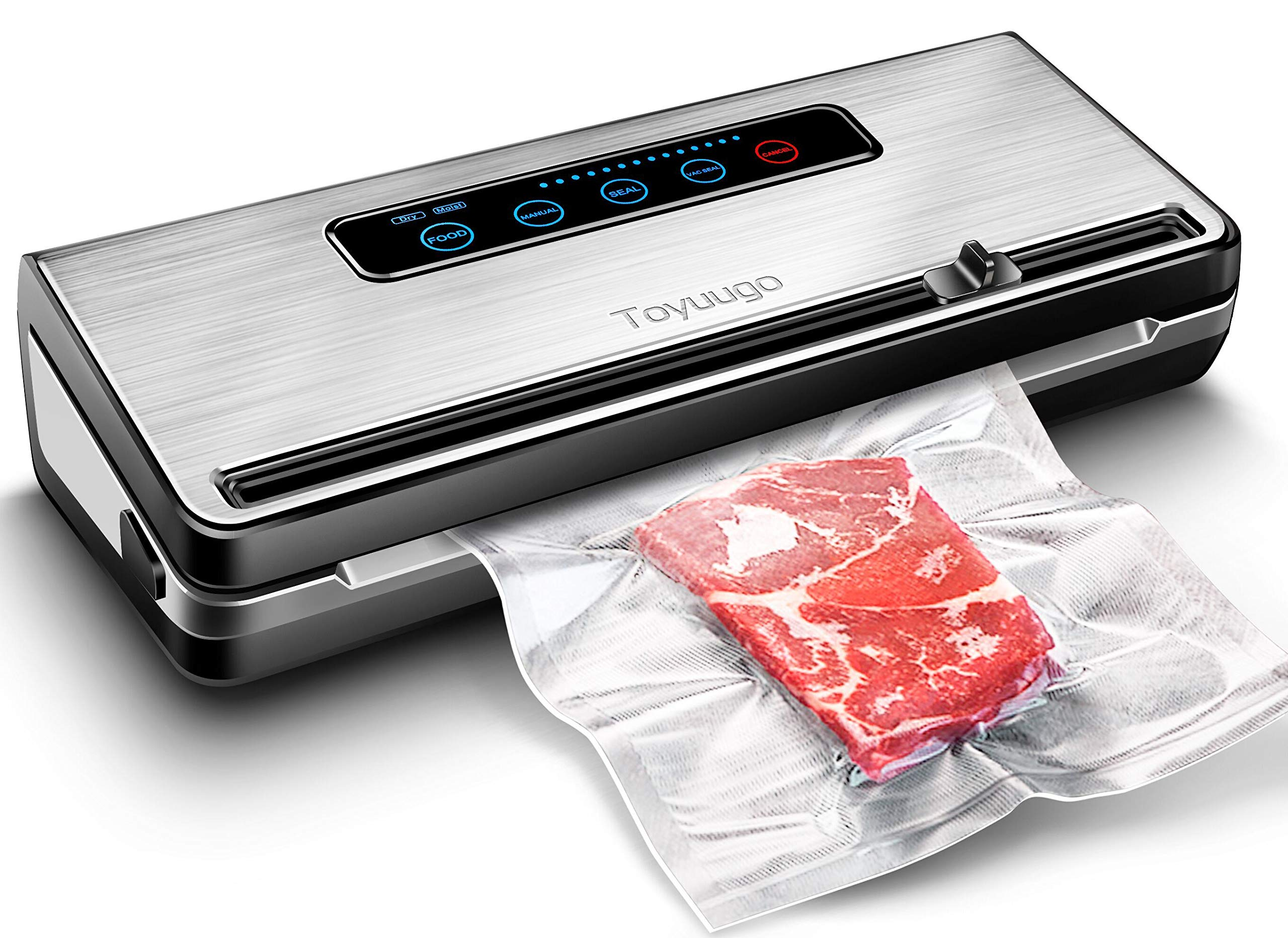 Food Vacuum Sealer, Toyuugo Automatic/Manual Food Saver Machine, One-Touch Food Sealer for Dry and Moist Food Fresh Preservation Suitable for Use in Camping and Home, Provide Roll Vacuum Bags