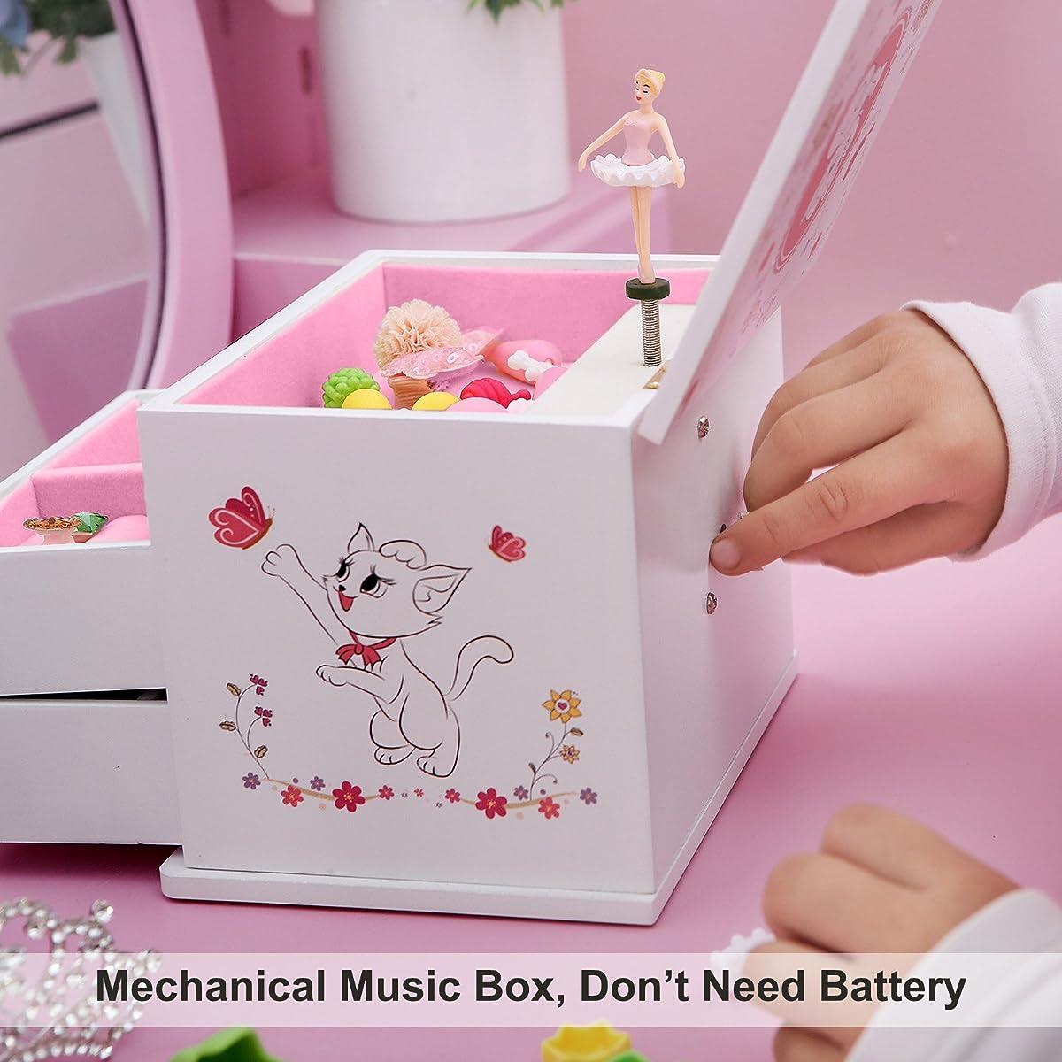 SONGMICS Ballerina Music Jewelry Box for Girls White UJMC22WT