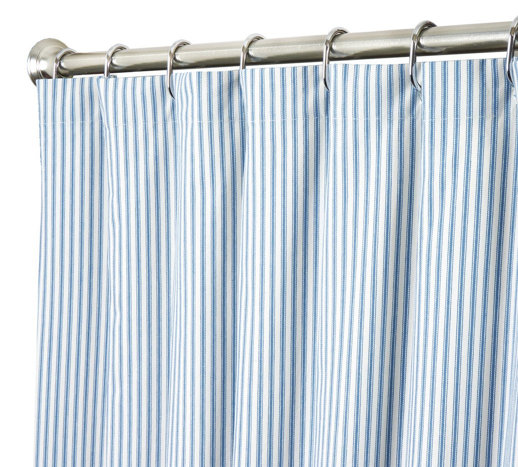 Decorative Things Extra Long Shower Curtain Unique Designer Modern Blue Striped Ticking 84 Inches