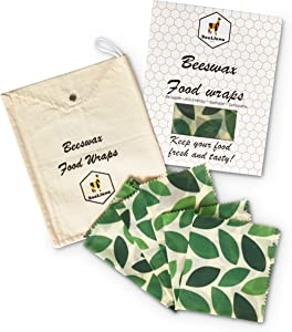 Beeswax Food Wrap - Kitchen/Produce/Cheese/Fruit/Sandwich/Snack/Storage - Sustainable Products - Eco Friendly - Zero Waste Beeswaxwrap - Reusable Bees Wax Wrap - Home Foodwrap - Plastic Alternative