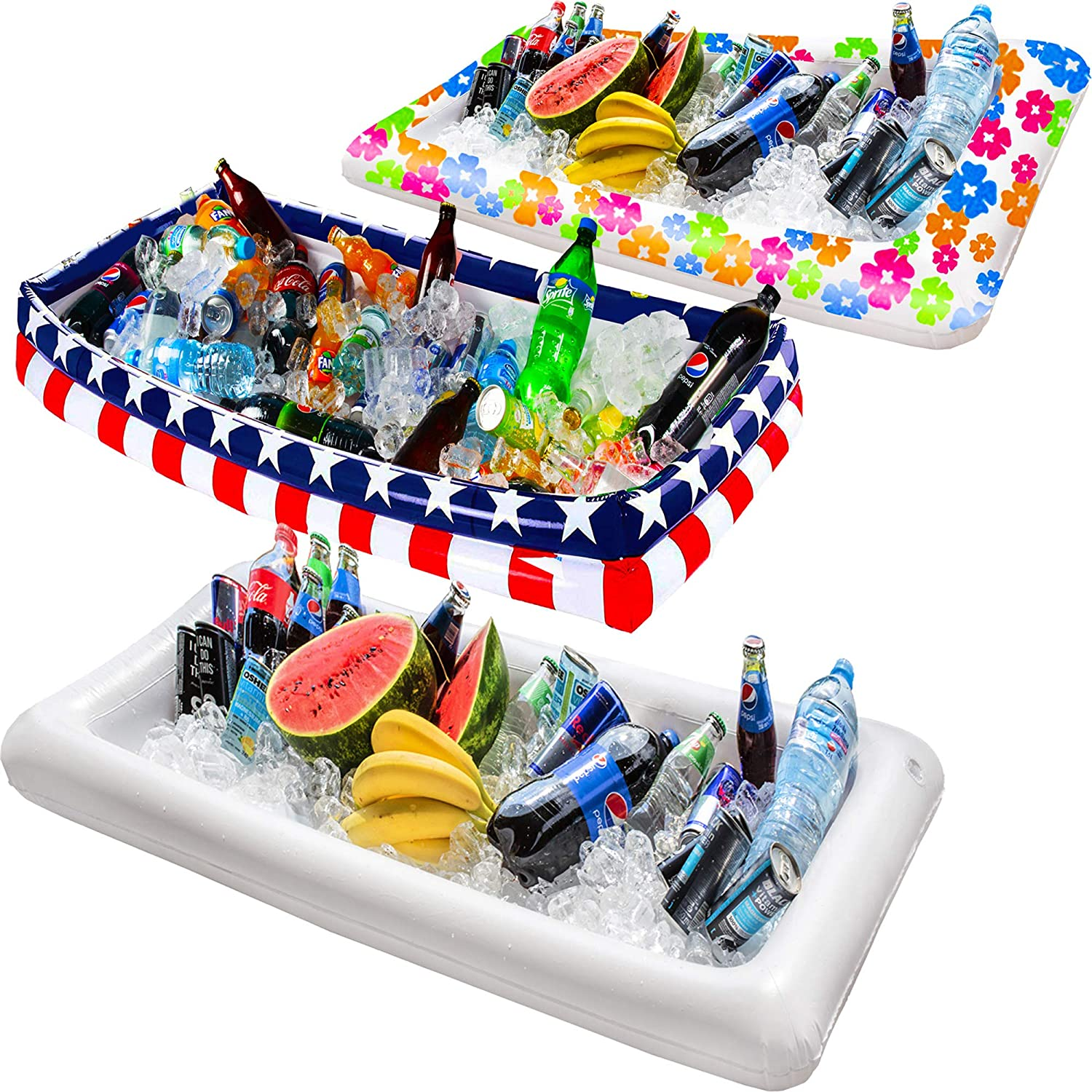Inflatable Pool Table Serving Bar - Large Buffet Tray Server with Drain Plug - Keep Your Salads & Beverages Ice Cold - for Parties Indoor & Outdoor use Bar Party Accessories