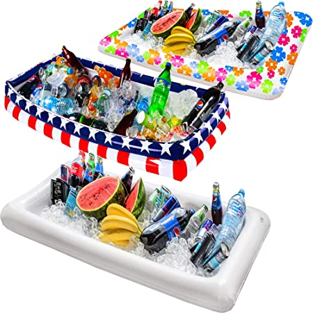 Barra de servir inflable para mesa de billar, bandeja de buffet grande con tapón de drenaje, mantiene tus ensaladas y bebidas frías, para fiestas, uso interior y exterior, accesorios para fiestas: Amazon.es:
