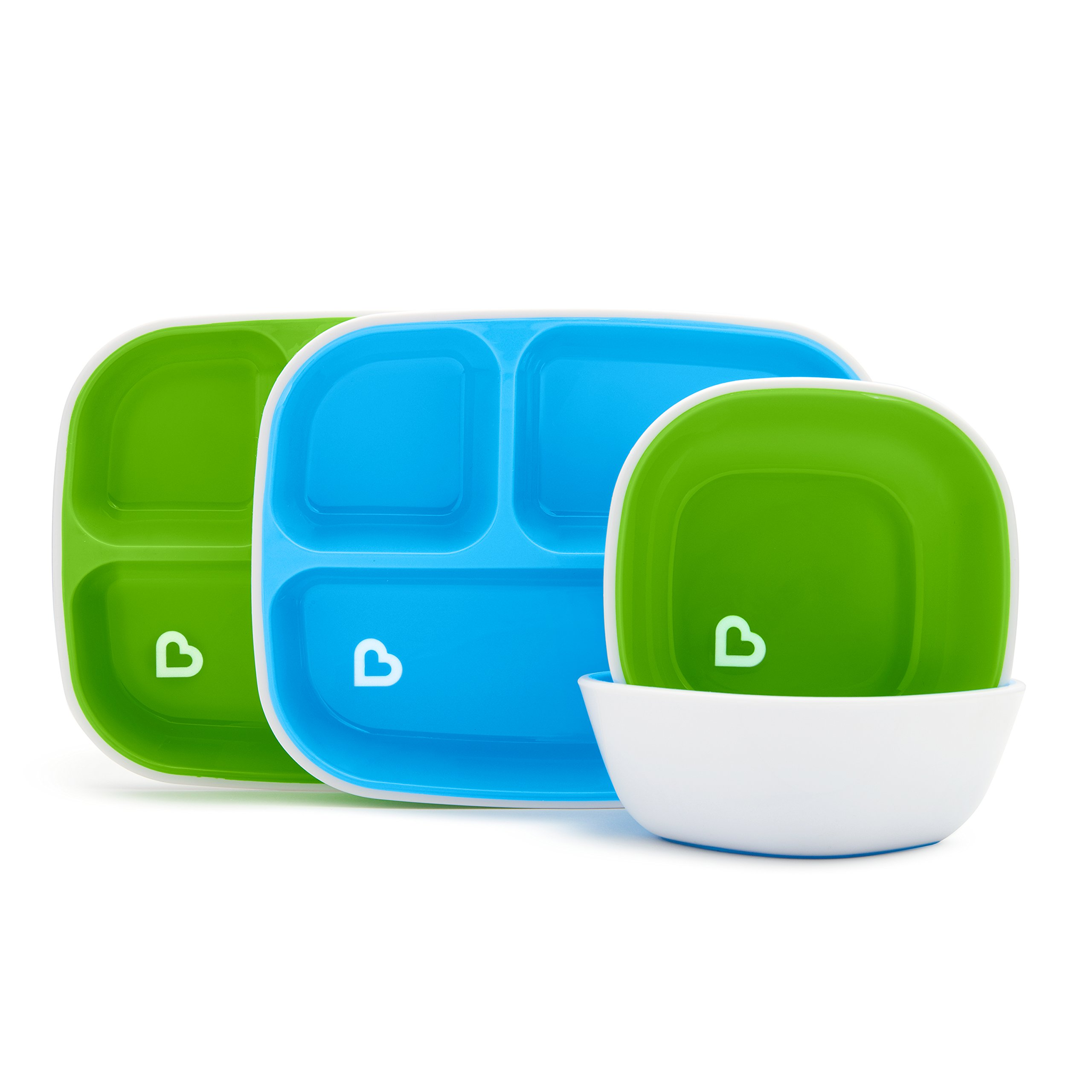 Munchkin Splash 4 Piece Toddler Divided Plate and Bowl Dining Set, Blue/Green by Munchkin