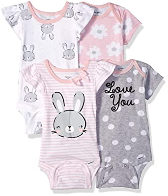 260829ca8 Amazon.com  Gerber Baby Girls  4-Pack Short-Sleeve Onesies Bodysuit ...