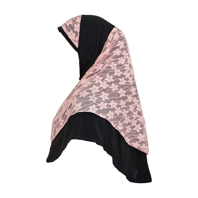 M/ädchen ab 10 Jahren Damen Hijab Instant Kopftuch mit Spitze