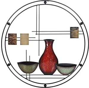 Hosley 24 Inch Diameter Mid Century Modern Vases Metal Circle Wall Art. Ideal Gift for Weddings Special Occasion Home Decor Party Spa Votive LED Gardens Home Office O9