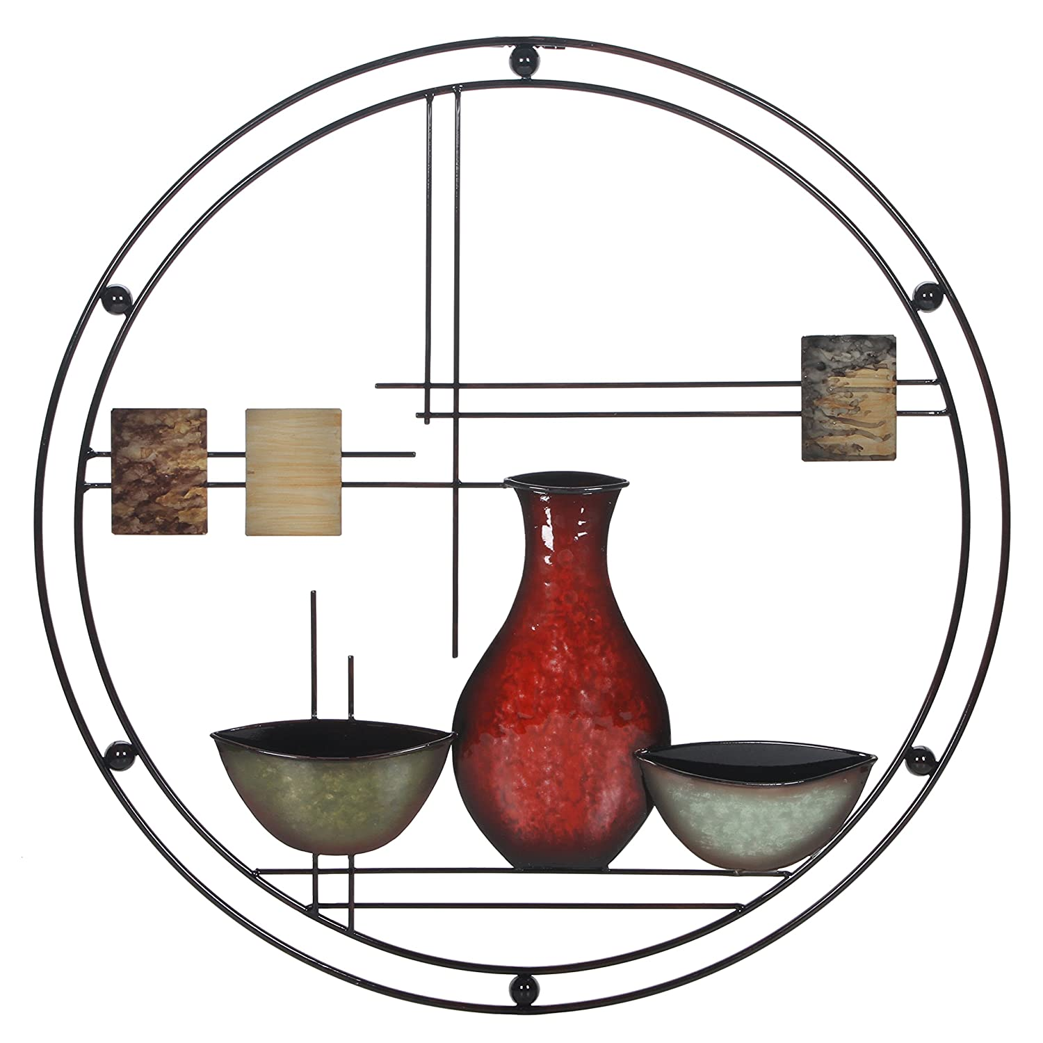 Hosley's 24 Diameter Abstract Vases Metal Circle Art. Ideal Gift for Home, Weddings, Party, Spa, Votive Candle Gardens, Home Office P9 HG Global FBA-BS52431WL-1-EA